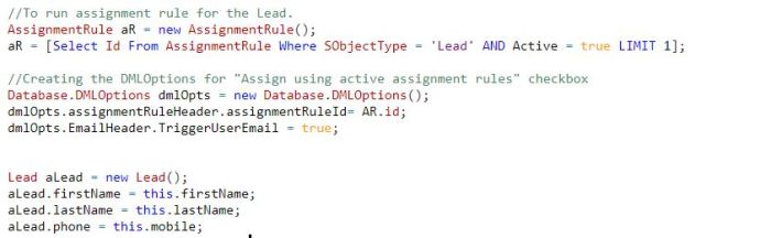 Enable Lead Assignment Rules from Apex Code | #Hela_Force